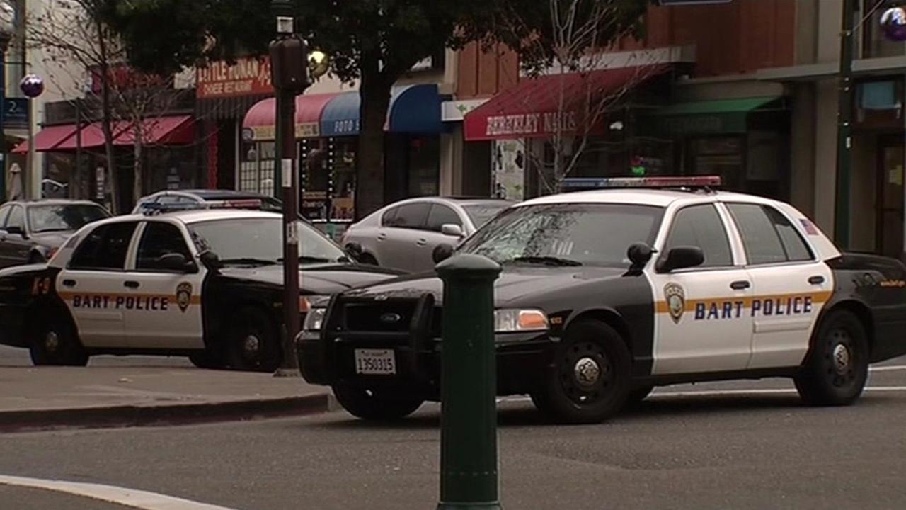 FILE -- BART police near Berkeley BART station.