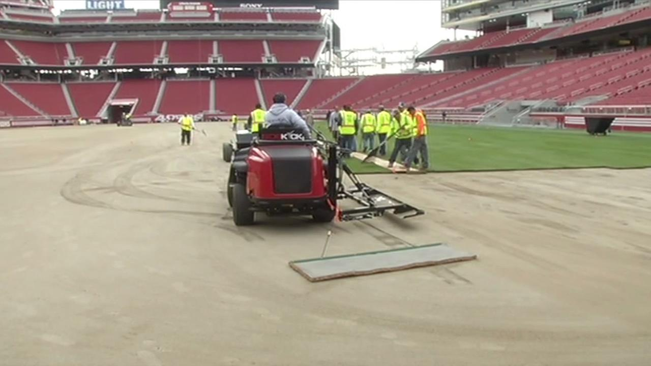 Crews work to prepare the field at Levis Stadium in Santa Clara, Calif., on January 11, 2016, for the upcoming Super Bowl 50.