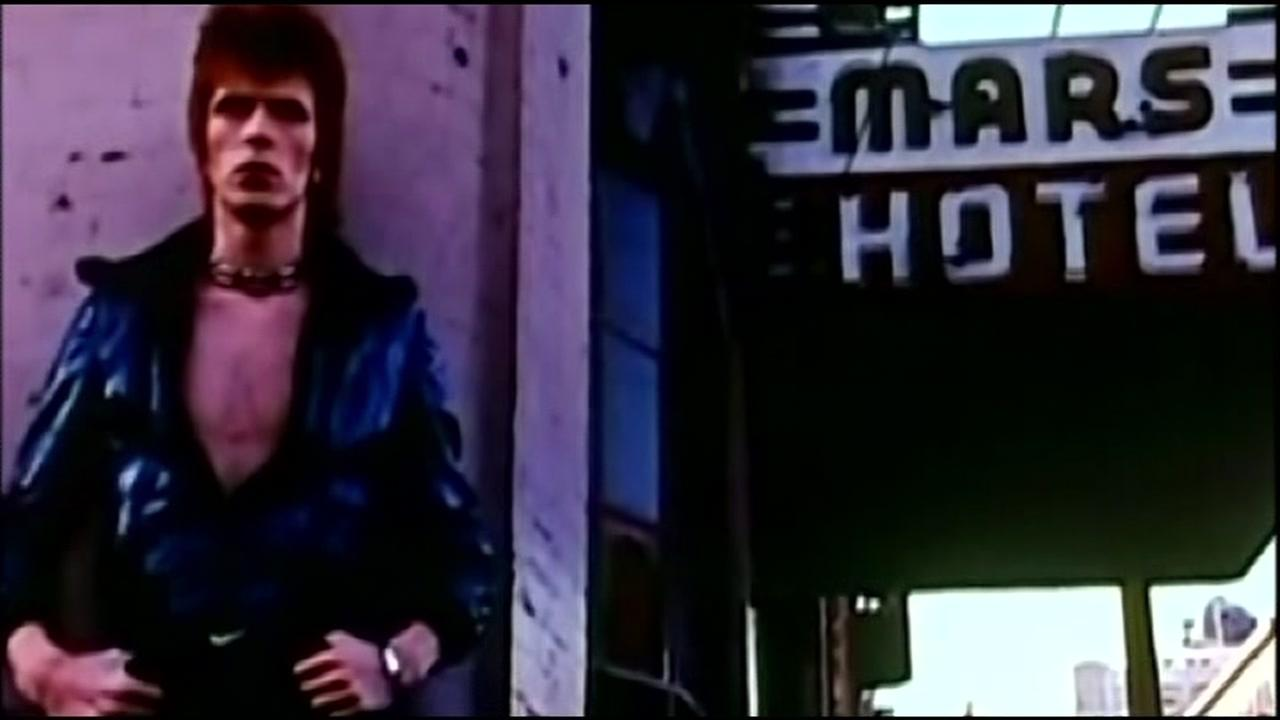 This undated image shows David Bowie near the Mars Hotel in San Francisco.
