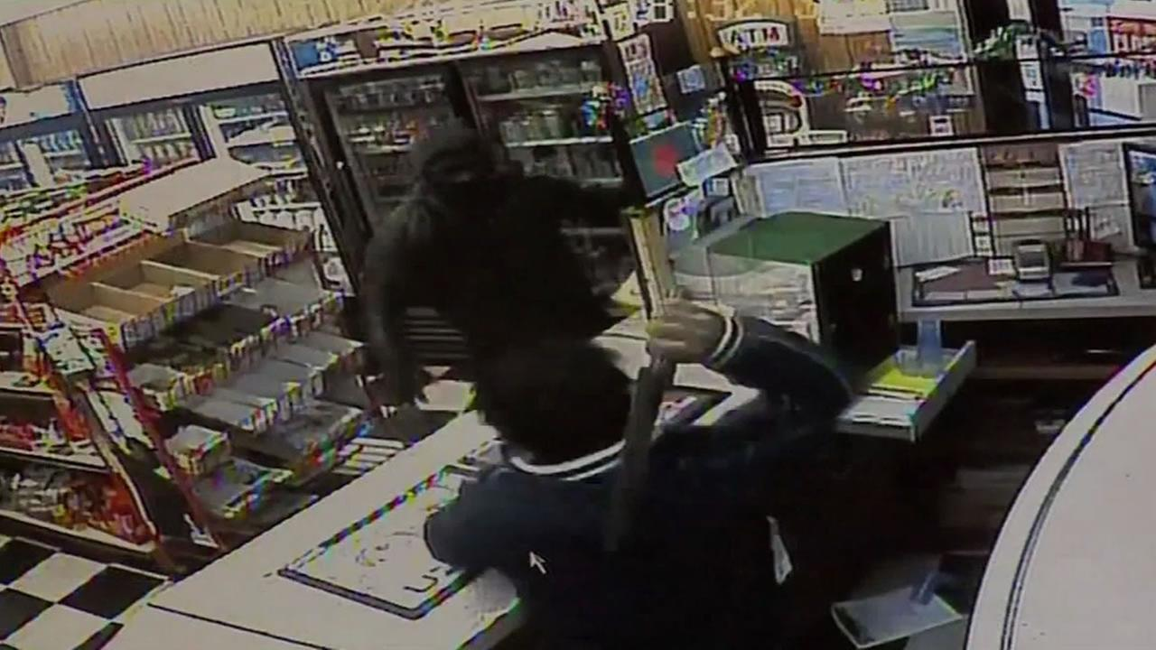 Police say a robber armed with a knife attacked a store clerk armed with an even bigger knife in Fall River, Massachusetts on Sunday, January 10, 2016.