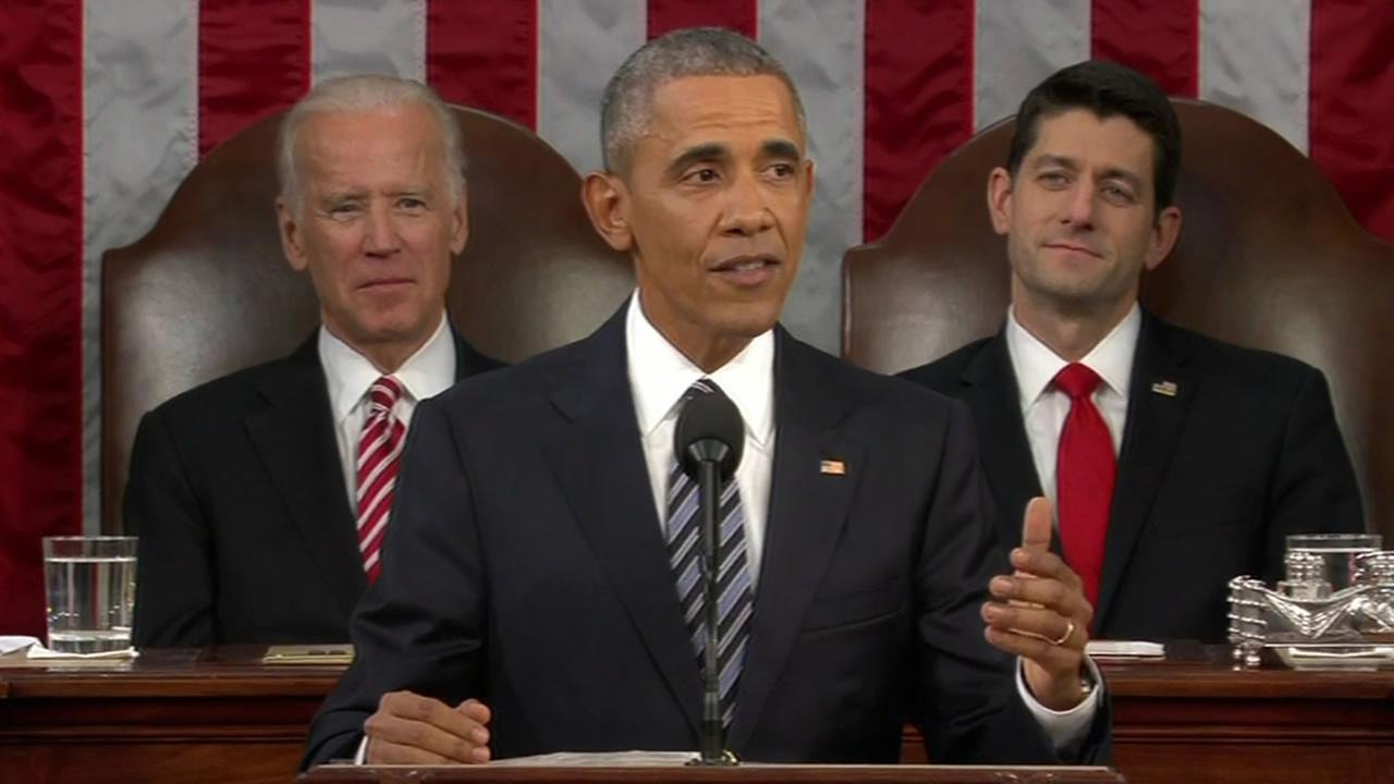 President Barack Obama giving the 2016 State of the Union Address
