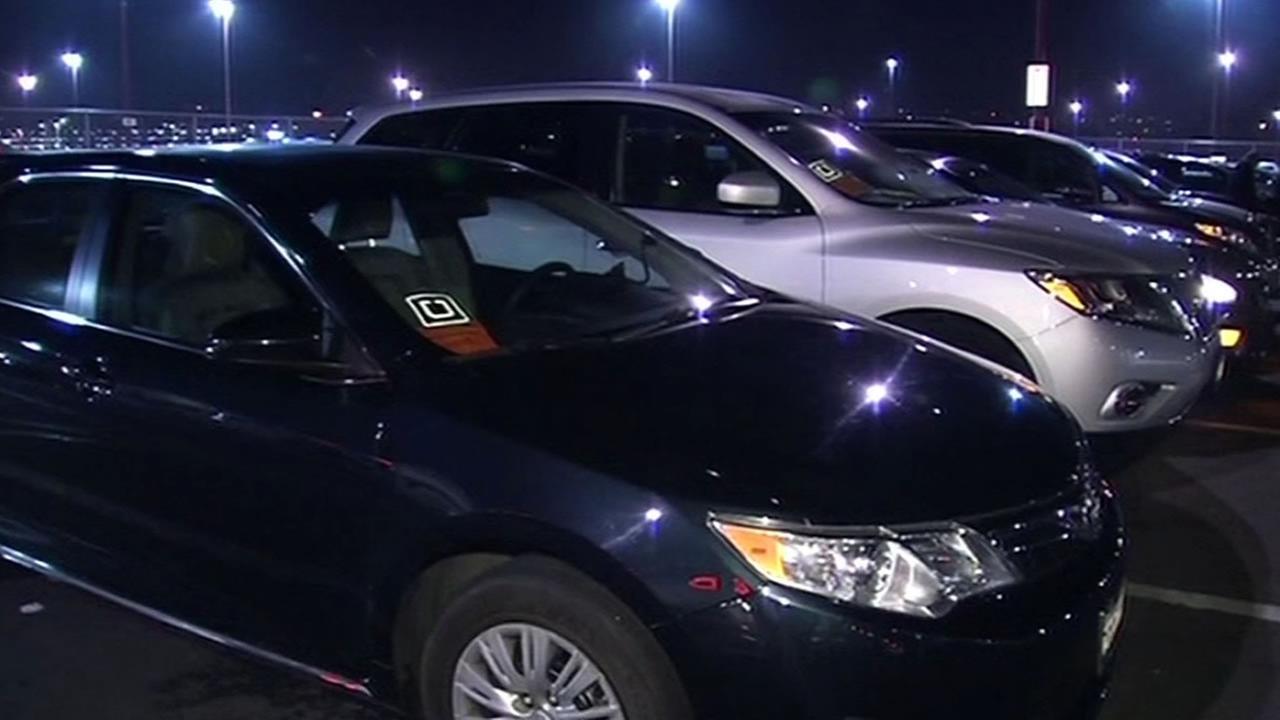 Uber car parked