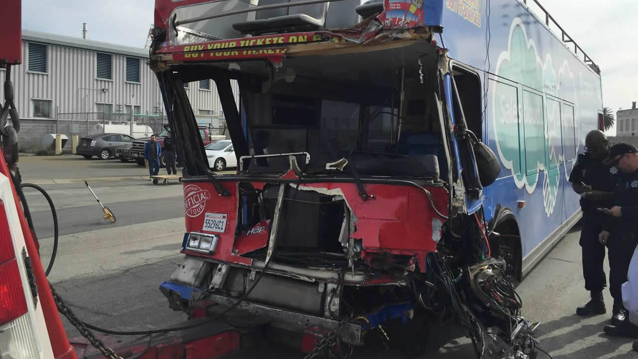 This photo taken Tuesday, January 12, 2016, shows the damage a tour bus sustained after a crash in San Franciscos Union Square on Friday, November 13, 2015.