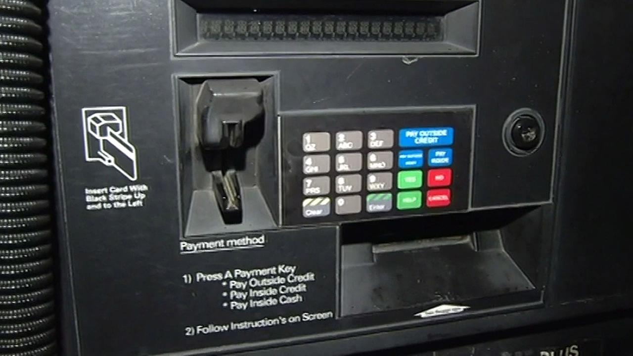 gas station pump where customers put in their credit cards