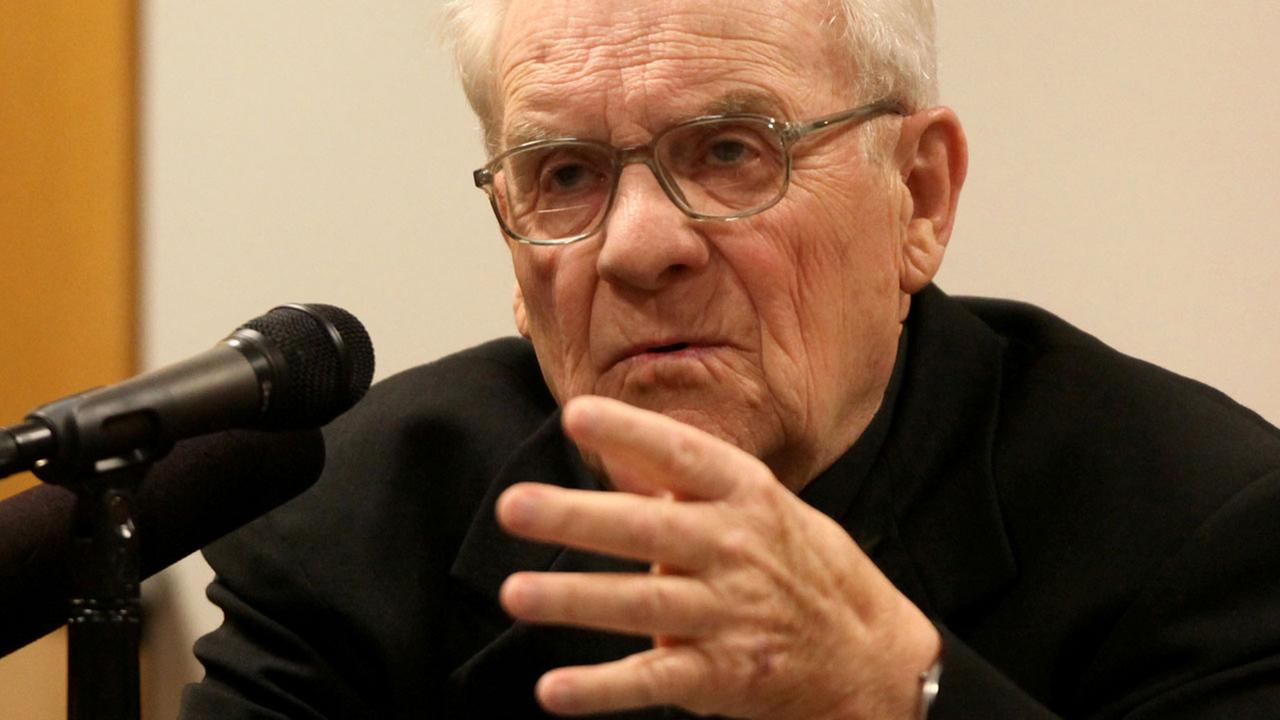 FILE: Former Seattle Archbishop Raymond Hunthausen testifies during the 2009 trial of an accused former priest. Hunthausen led the church during the scandal.