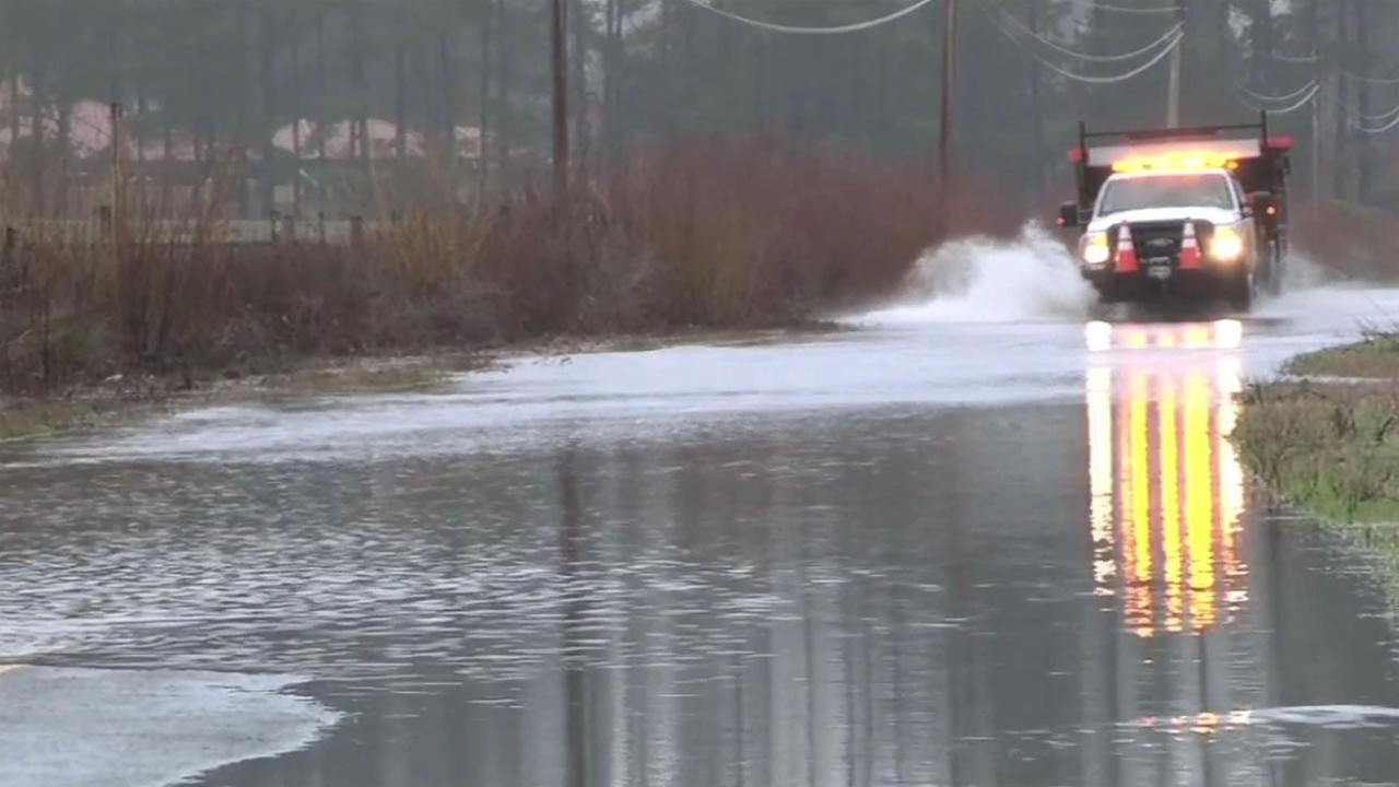 This image shows flooding along Hwy 1 in Sonoma near Valley Ford Jan. 16, 2016.