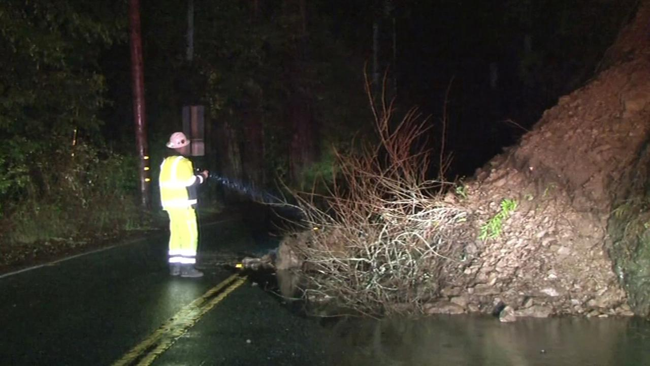 Highway 116 east of Guerneville reopened about 10 p.m. Sunday after a mudslide blocked the road, Sunday, January 18, 2016.