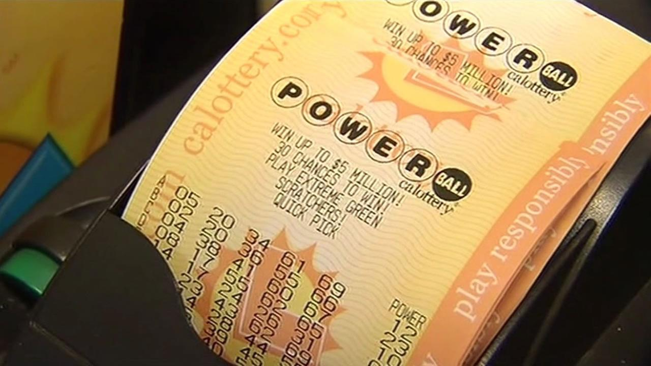 A Powerball ticket is seen in this undated image.