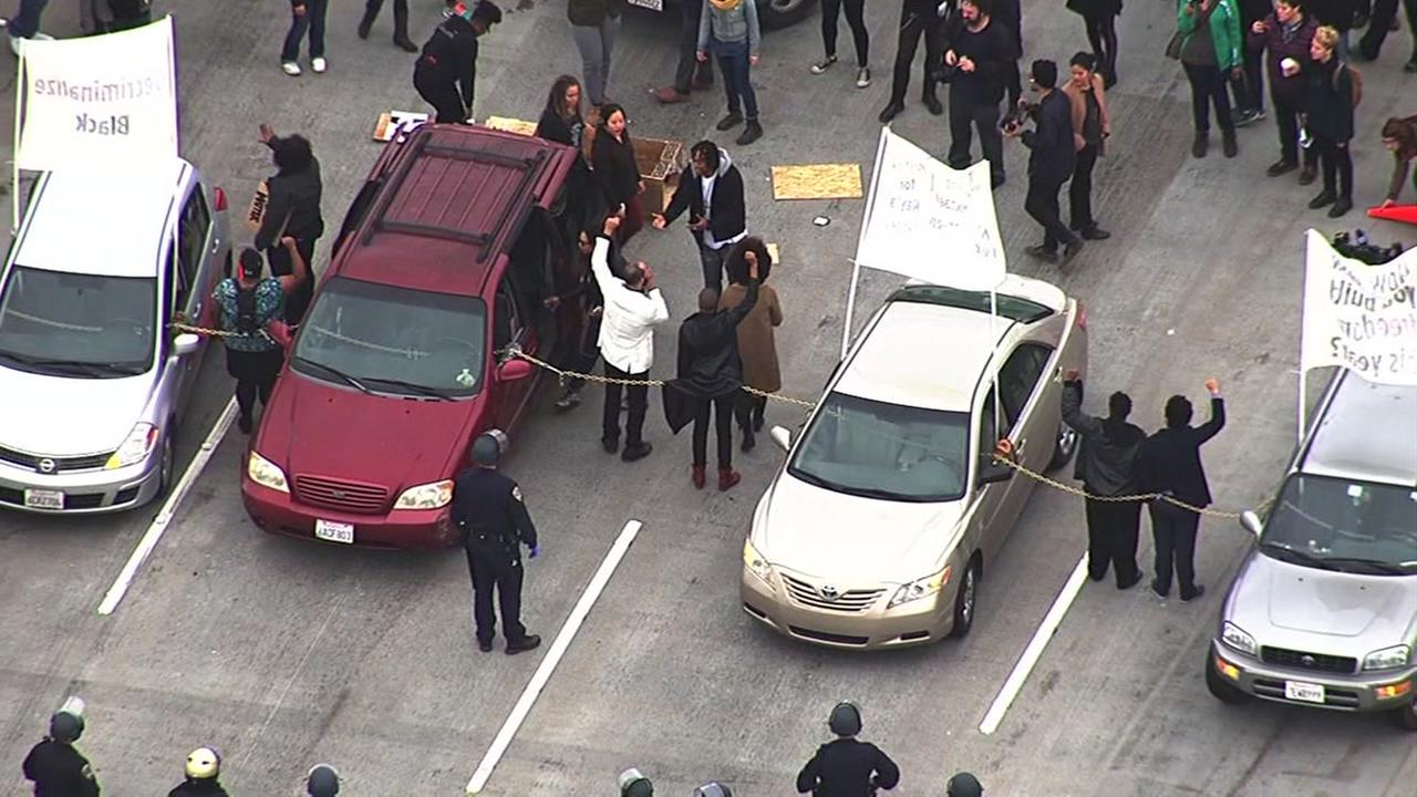 Protesters blocked traffic on the Bay Bridge in Oakland, Calif. on Monday, January 18, 2016.KGO-TV