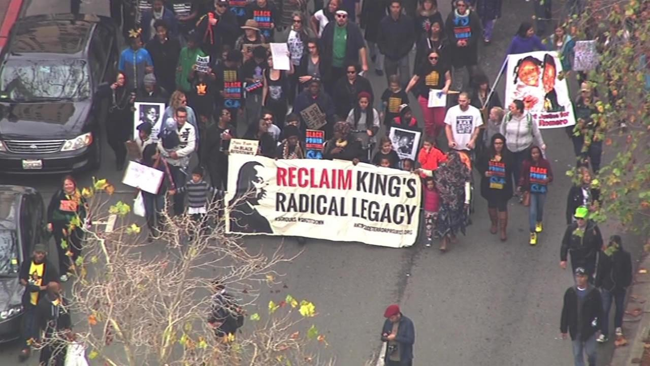 Activists march through Oakland, Calif., on Monday, January 18, 2016, for the 96 Hours of Direct Action to Reclaim Kings Radical Legacy part of the Reclaim MLK Weekend. KGO-TV
