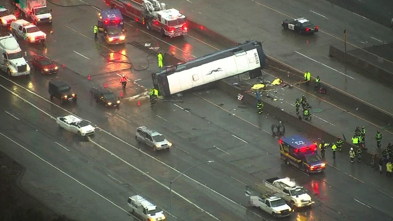 Two people were killed after a Greyhound bus overturned on Highway 101 in San Jose, Calif. on Tuesday, January 19, 2016.KGO-TV