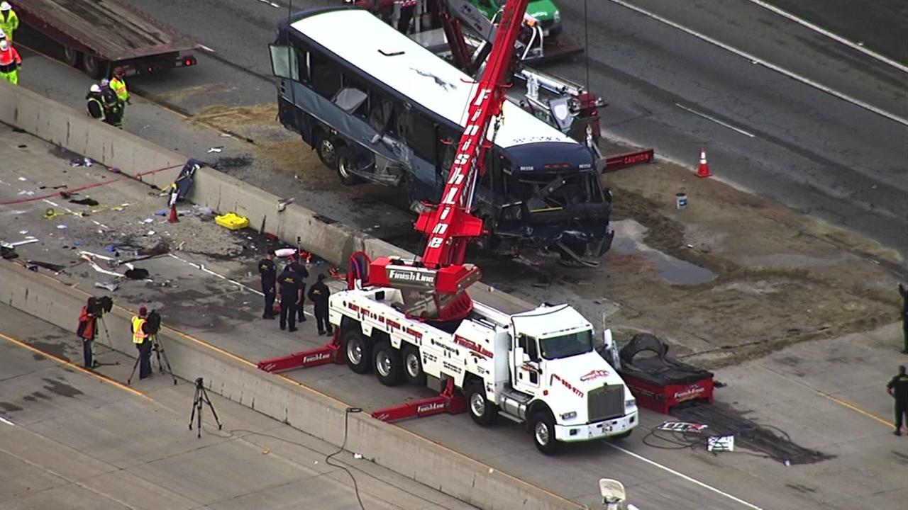 Two people have died and 18 people are injured after a Greyhound bus overturned on Hwy 101 in San Jose, Tuesday, January 19, 2016.KGO-TV