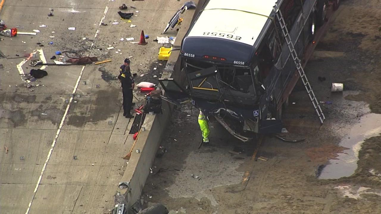 Two people have died and 18 people are injured after a Greyhound bus overturned on Hwy 101 in San Jose, Tuesday, January 19, 2016.