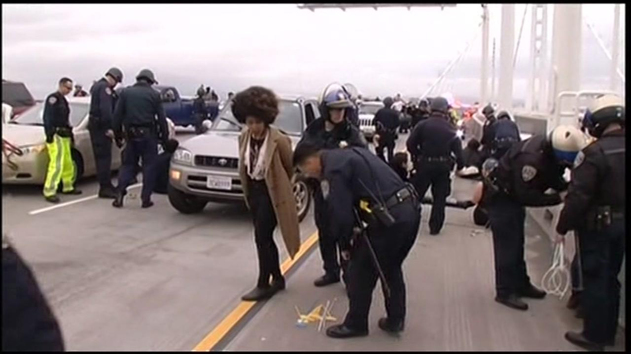 Protesters blocked traffic on the Bay Bridge in Oakland, Calif. on Monday, January 18, 2016.