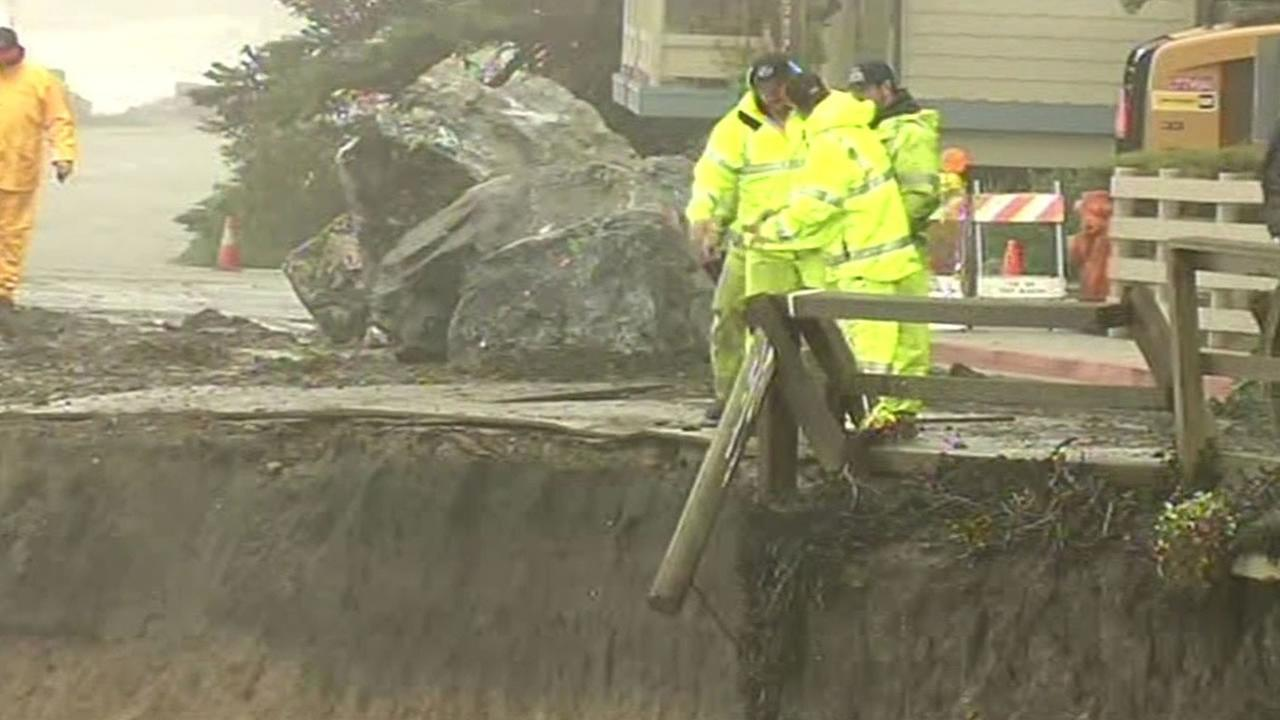 Crews work to save Half Moon Bay road