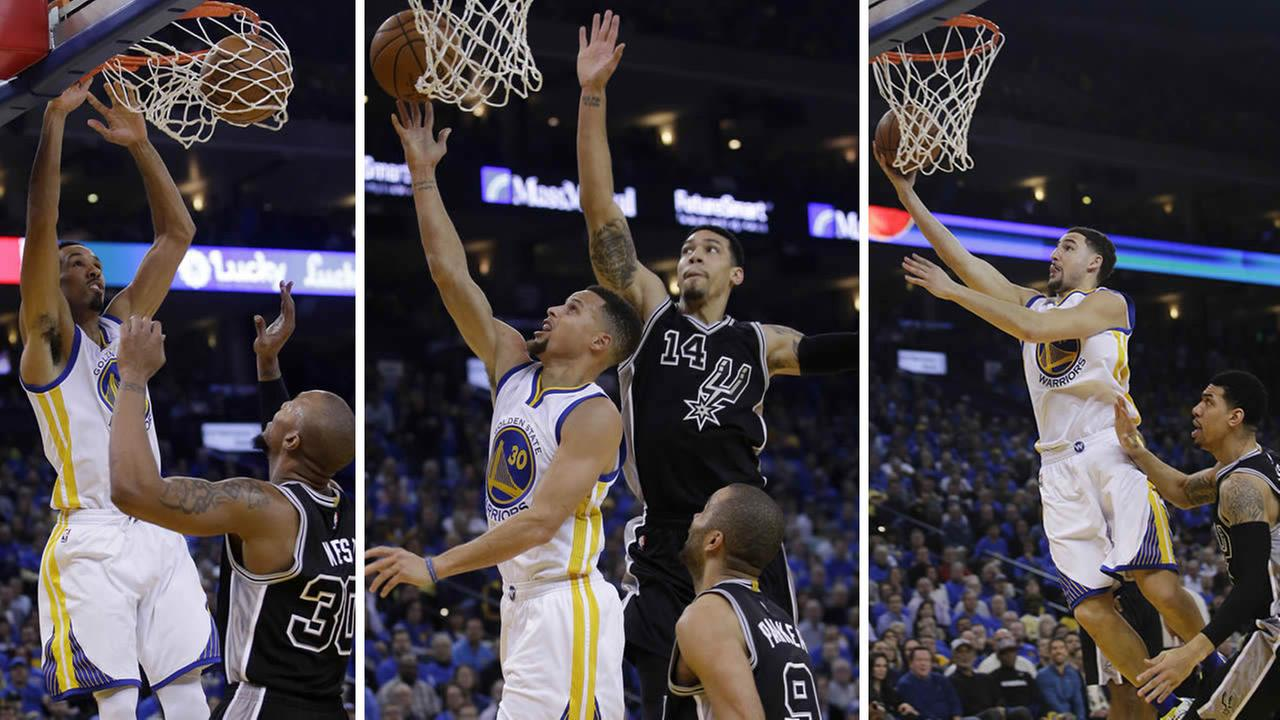 Three Warriors players dunk over Spurs players