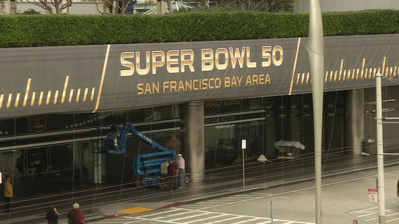 A sign for Super Bowl 50 is seen in San Francisco on Wednesday, January 27, 2016.
