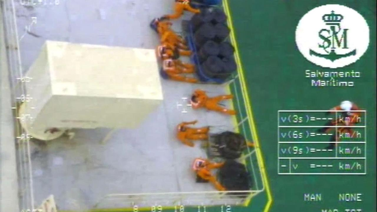 The coast guard rescued 22 sailors off a ship that was sinking off the coast of Spain.
