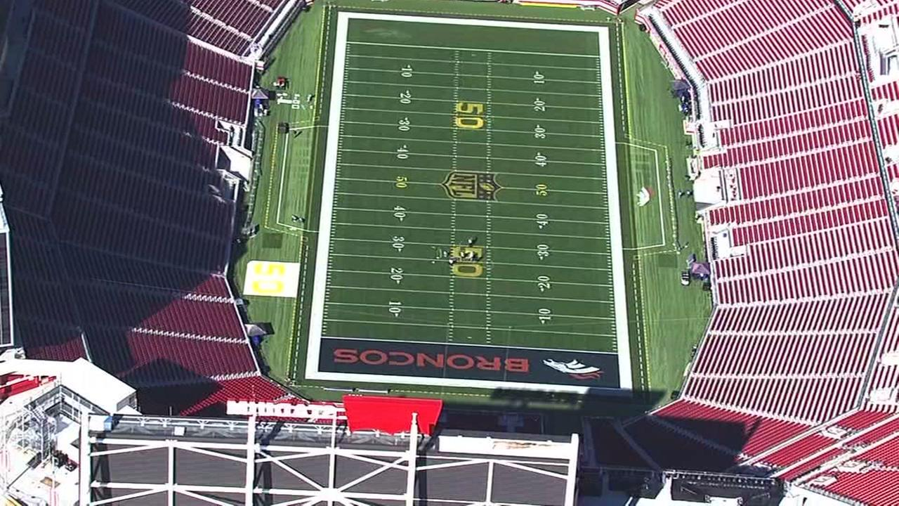 The view from Sky7 HD shows preparations underway at Levis Stadium in Santa Clara, Calif. on January 27, 2016 for Super Bowl 50.KGO-TV