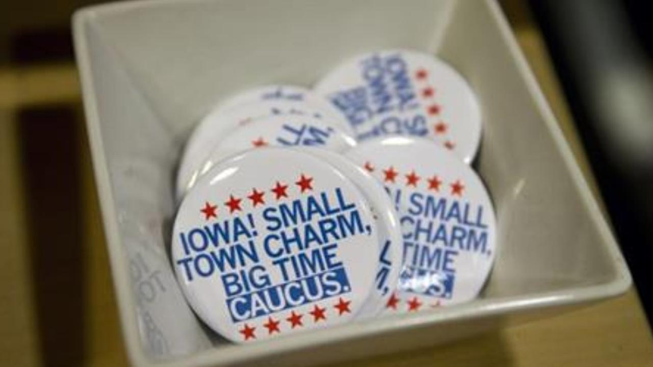 In this Jan. 21, 2016, photo, political buttons are for sale at a gift shop in Des Moines, Iowa.