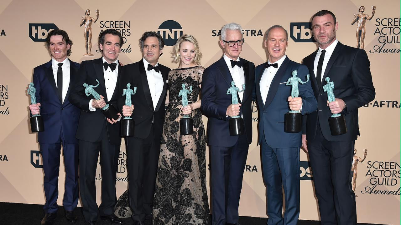 The cast of Spotlight at the 22nd annual Screen Actors Guild Awards at the Shrine Auditorium and Expo Hall on Saturday, Jan. 30, 2016, in Los Angeles.
