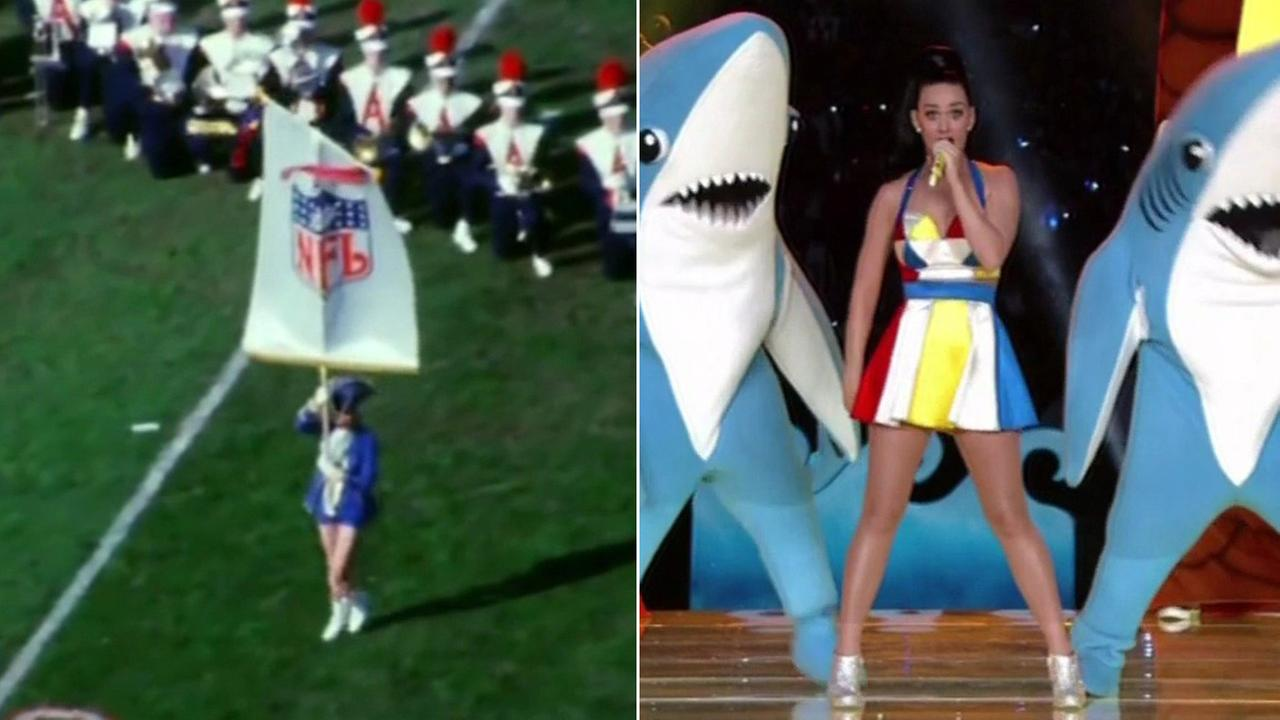 AFL-NFL World Championship game halftime show January, 15 1967 and Super Bowl halftime show with Katy Perry, February 1, 2015.