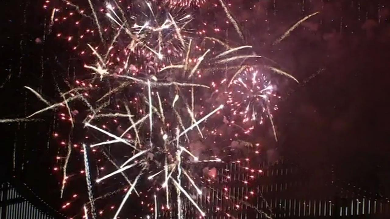 Fireworks kick off Super Bowl City in San Francisco on Saturday, January 31, 2016.