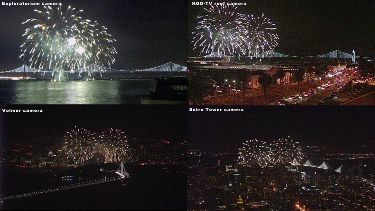 The Macys Fireworks Show celebrated the relighting of the Bay Lights and the opening of Super Bowl City in San Francisco on Saturday, January 30, 2016.