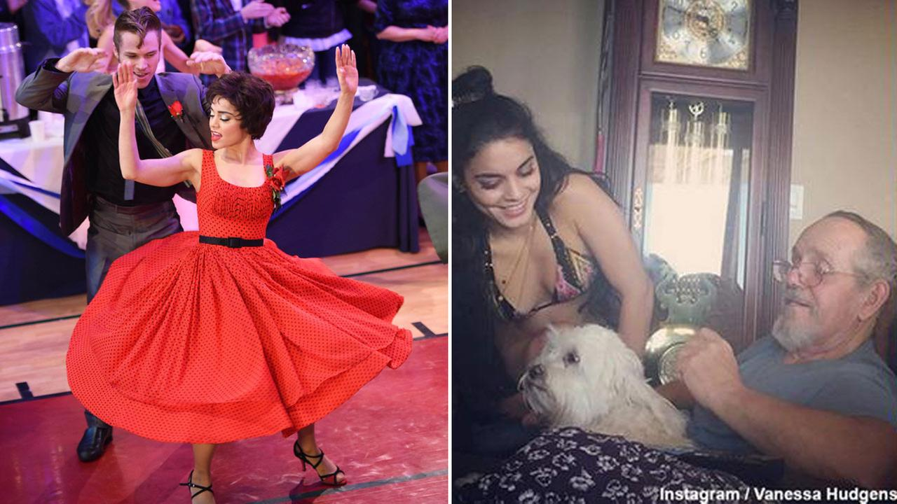 (Left) Sam Clark and Vanessa Hudgens appear during a performance of Grease: Live. (AP) and (Right) Vanessa Hudgens with her dad (Instagram / Vanessa Hudgens)
