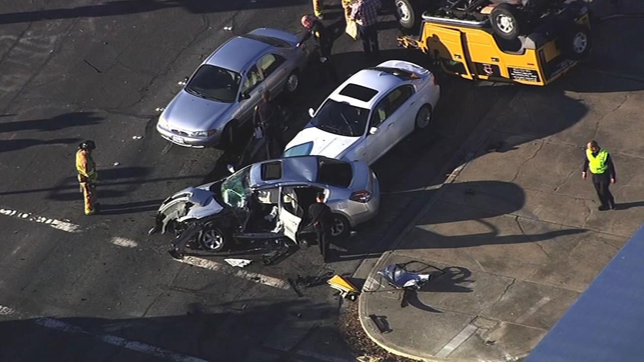 three cars and one yellow Humvee was involved in a crash in Concord