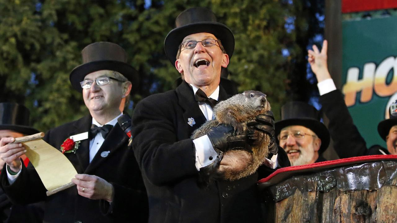 Groundhog Club handler Ron Ploucha holds Punxsutawney Phil during the 129th celebration of Groundhog Day in Punxsutawney, Pa., Monday, Feb. 2, 2015.