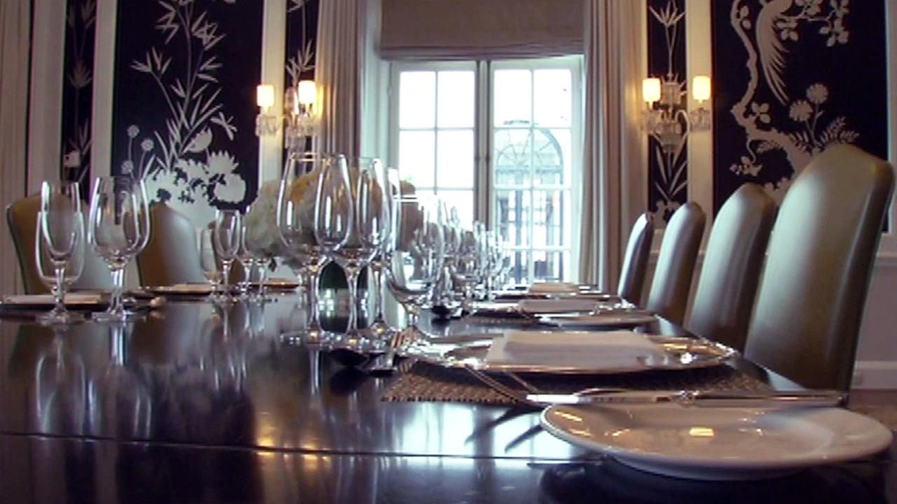 Dining room table in the penthouse at The Fairmont San Francisco.KGO-TV