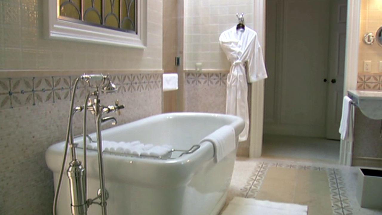 Bathroom in the Penthouse at the Fairmont San Francisco.KGO-TV