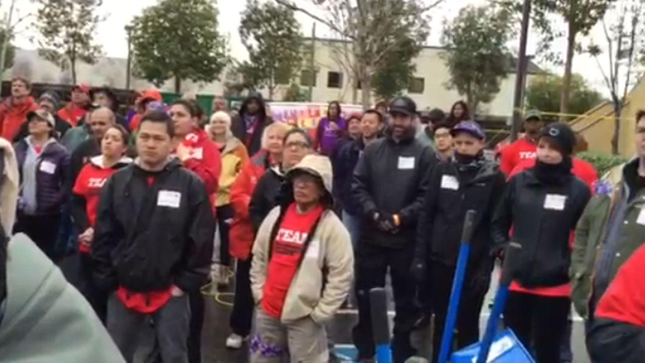 Volunteers at KaBoom playground build in San Jose, Tuesday, February 2, 2016.KGO-TV