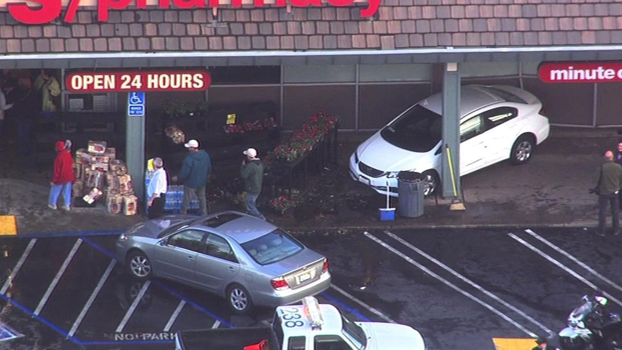 Car slams into CVS store in Walnut Creek, Tuesday, February 2, 2016.