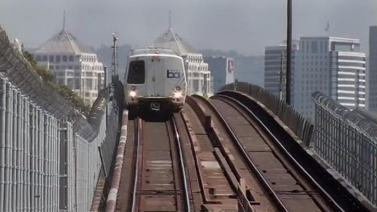 FILE: A BART train heading out of Oakland towards San Francisco