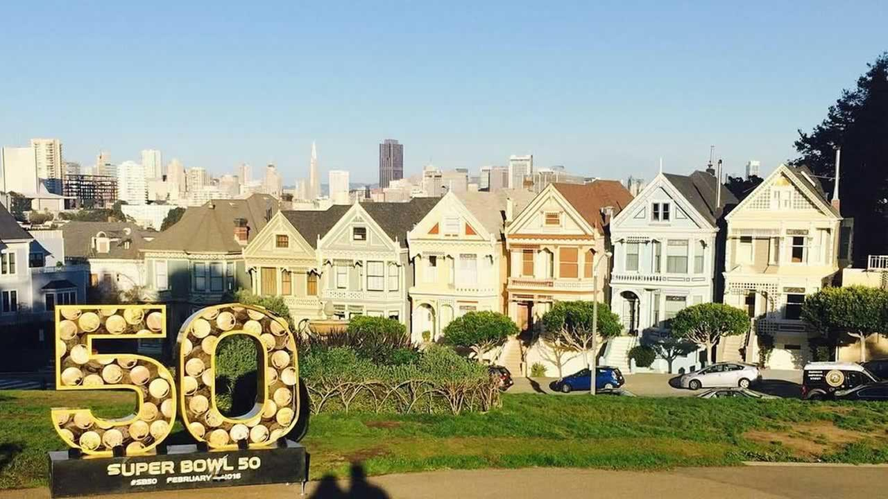 Super Bowl 50 statue with the Painted Ladies in San Francisco on Tuesday, Feb. 2, 2016.