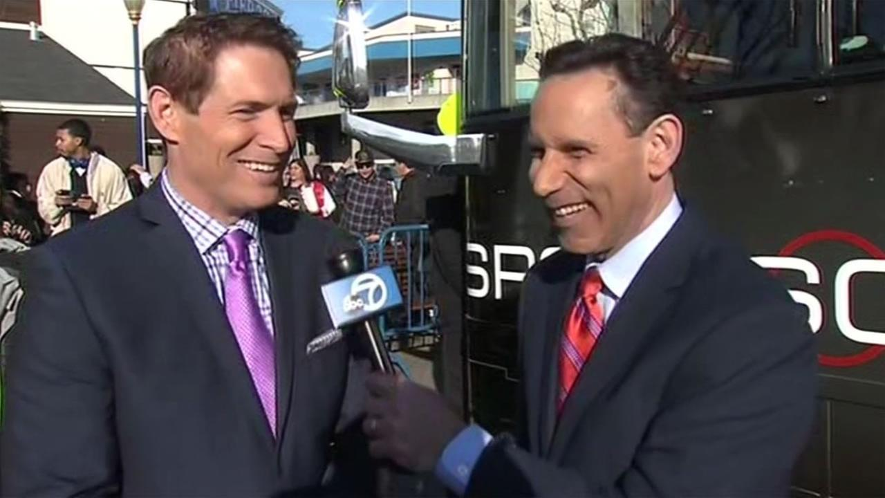 Former 49ers quarterback Steve Young speaks with ABC7s Larry Beil in San Francisco on Tuesday, February 2, 2016.