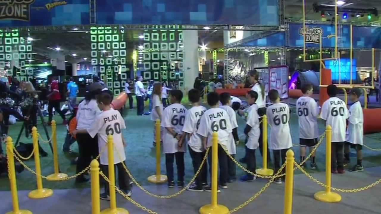 Several hundred kids test their NFL skills at the NFL Experience at San Franciscos Moscone Center on Wednesday, February 3, 2016.