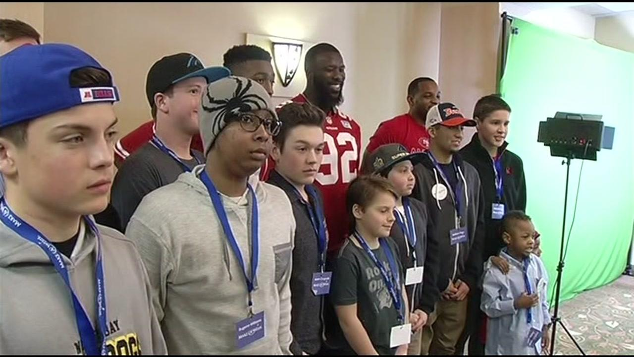 Fourteen Make-A-Wish children got the chance to meet several NFL players at an event in San Francisco on Thursday, February 4, 2016.