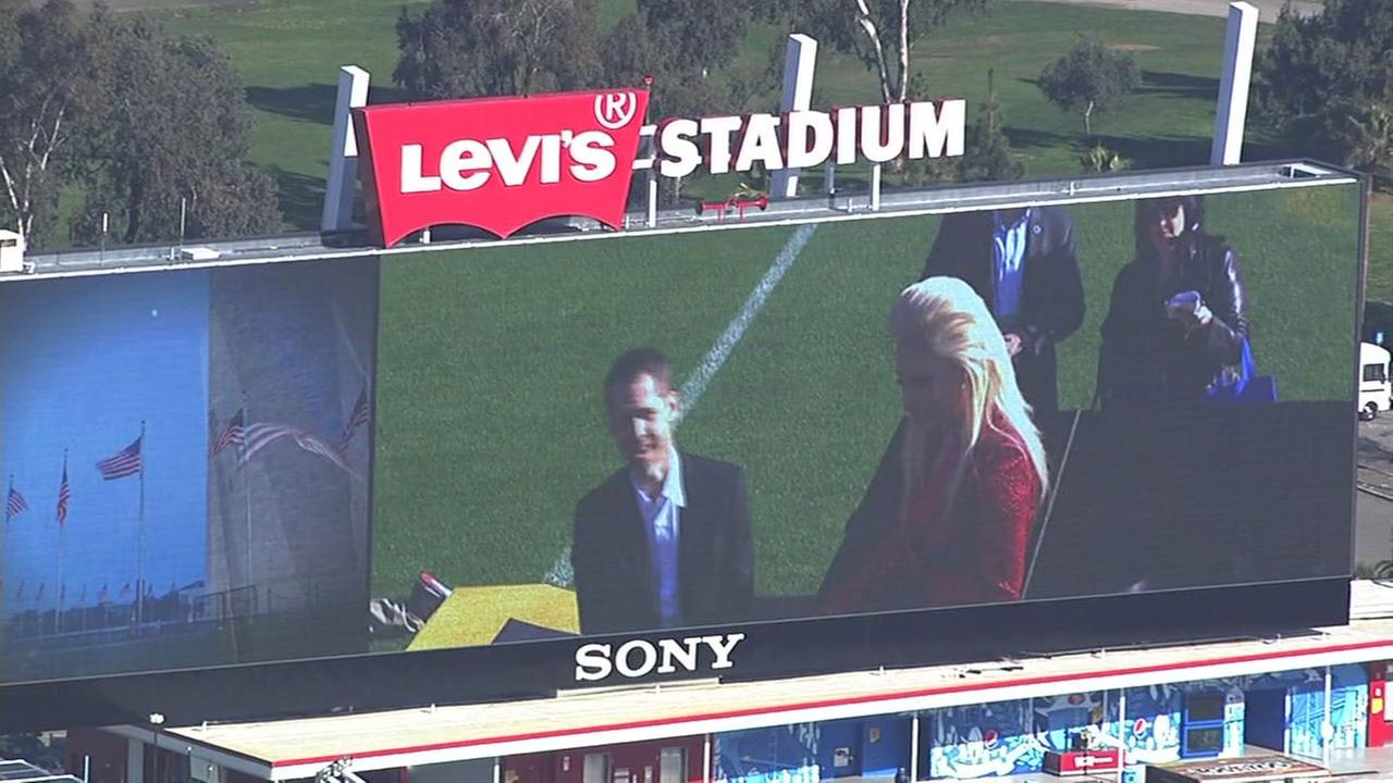 Lady Gaga rehearses National Anthem at Levis Stadium, Friday, February 5, 2016.