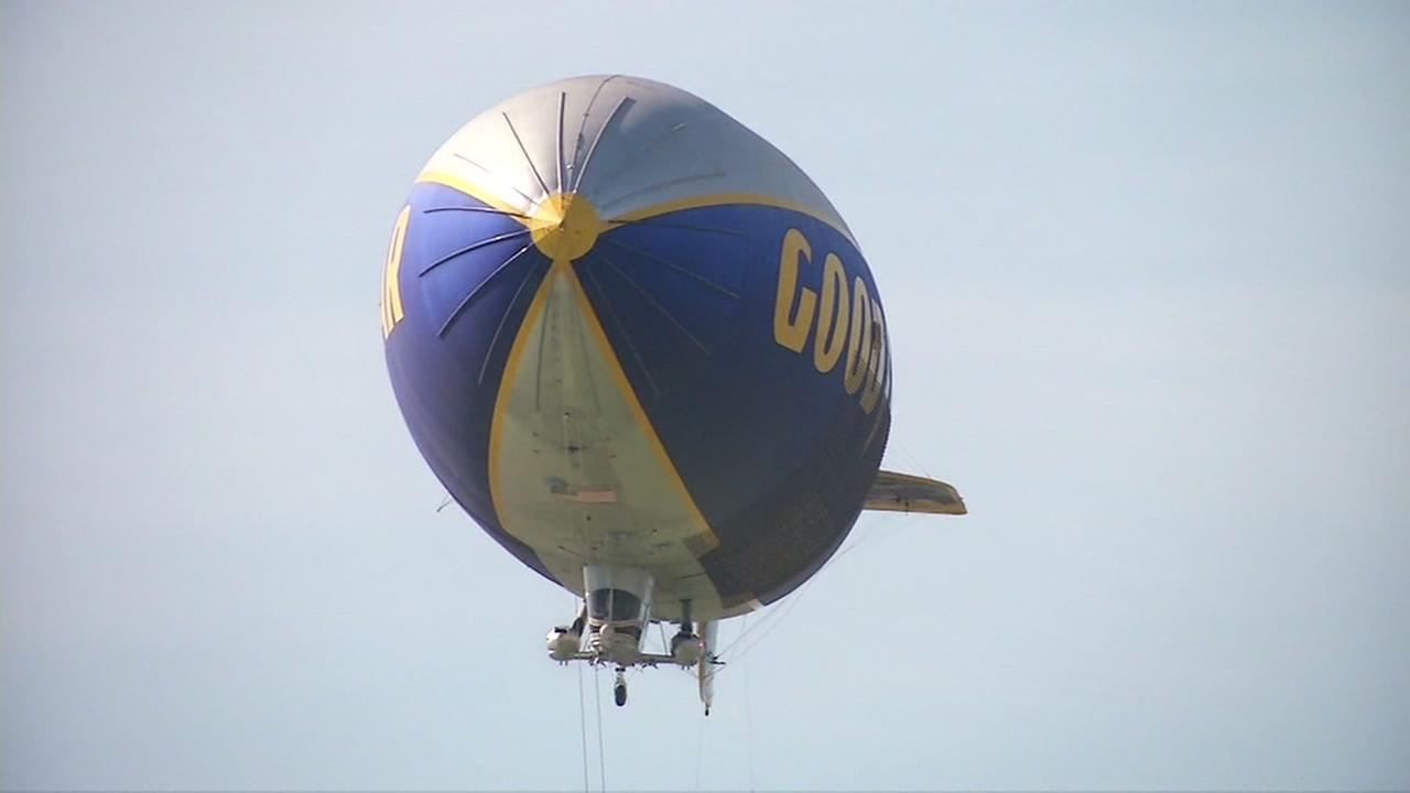 This image shows the Goodyear Blimp flying over the Bay Area on Friday, February 5, 2016.