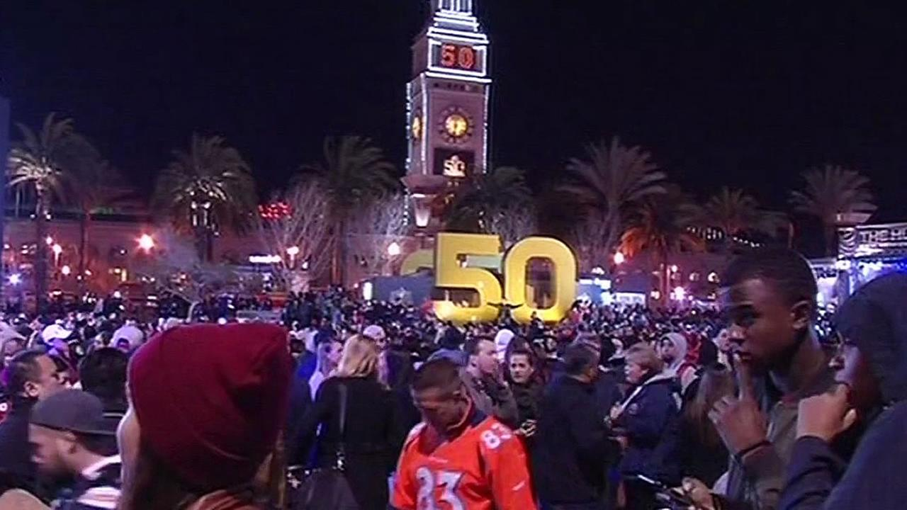 Super Bowl City at night in San Francisco