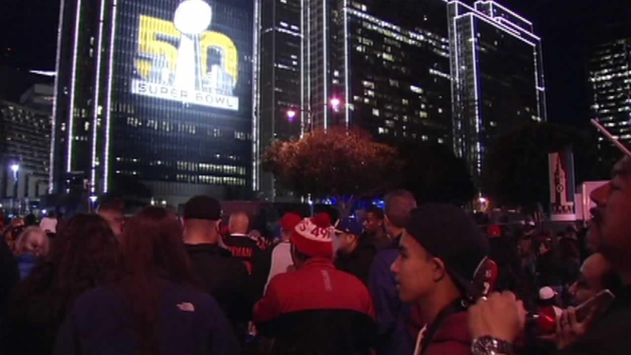 Crowds gather at Super Bowl City in San Francisco on Saturday, February 6, 2016.