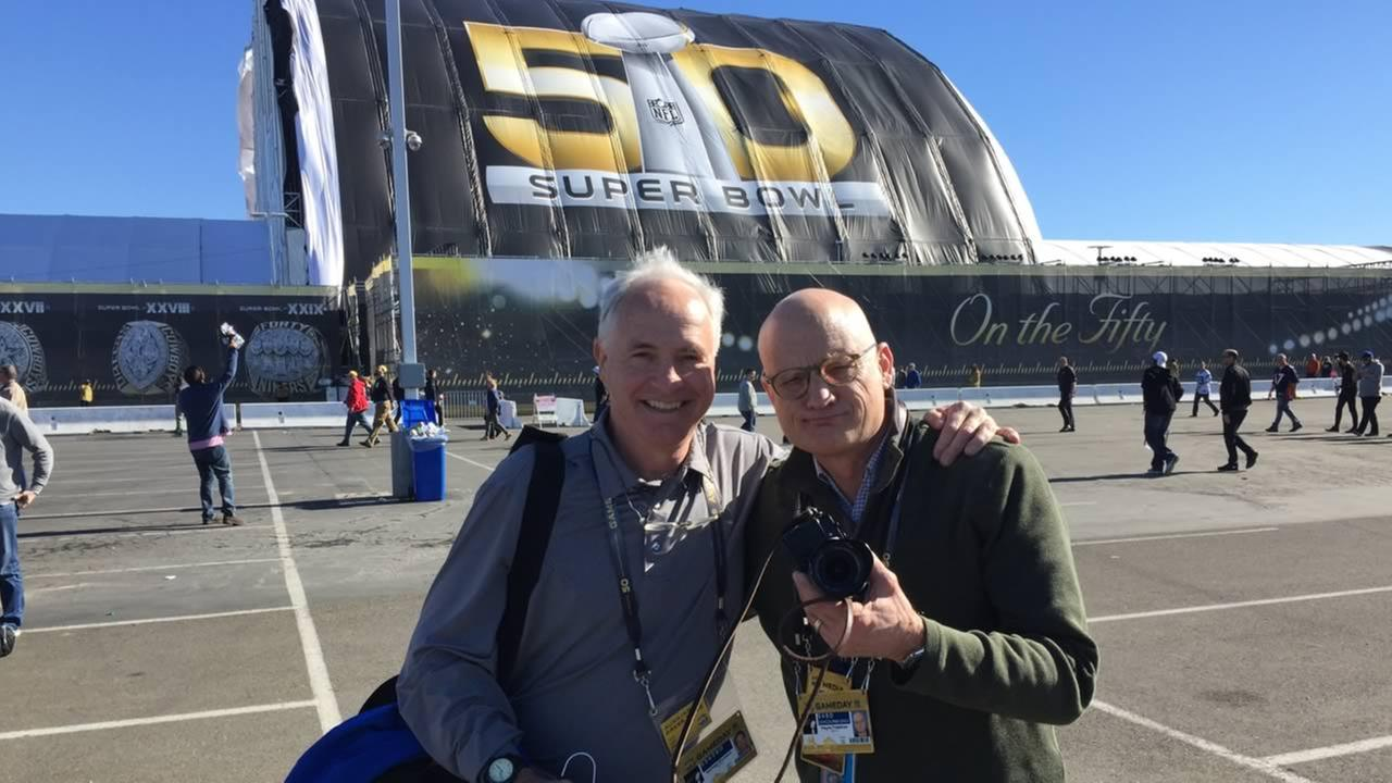 ABC7s Mike Shumann and Wayne Freedman smile outside Levis Stadium for Super Bowl 50 in Santa Clara, Calif. on Sunday, February 7, 2016.