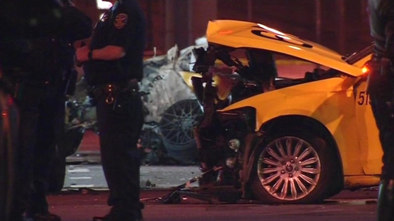 Three people died in a fiery crash after a car fleeing authorities crashed into a taxi in San Francisco, Calif. on February 6, 2016.