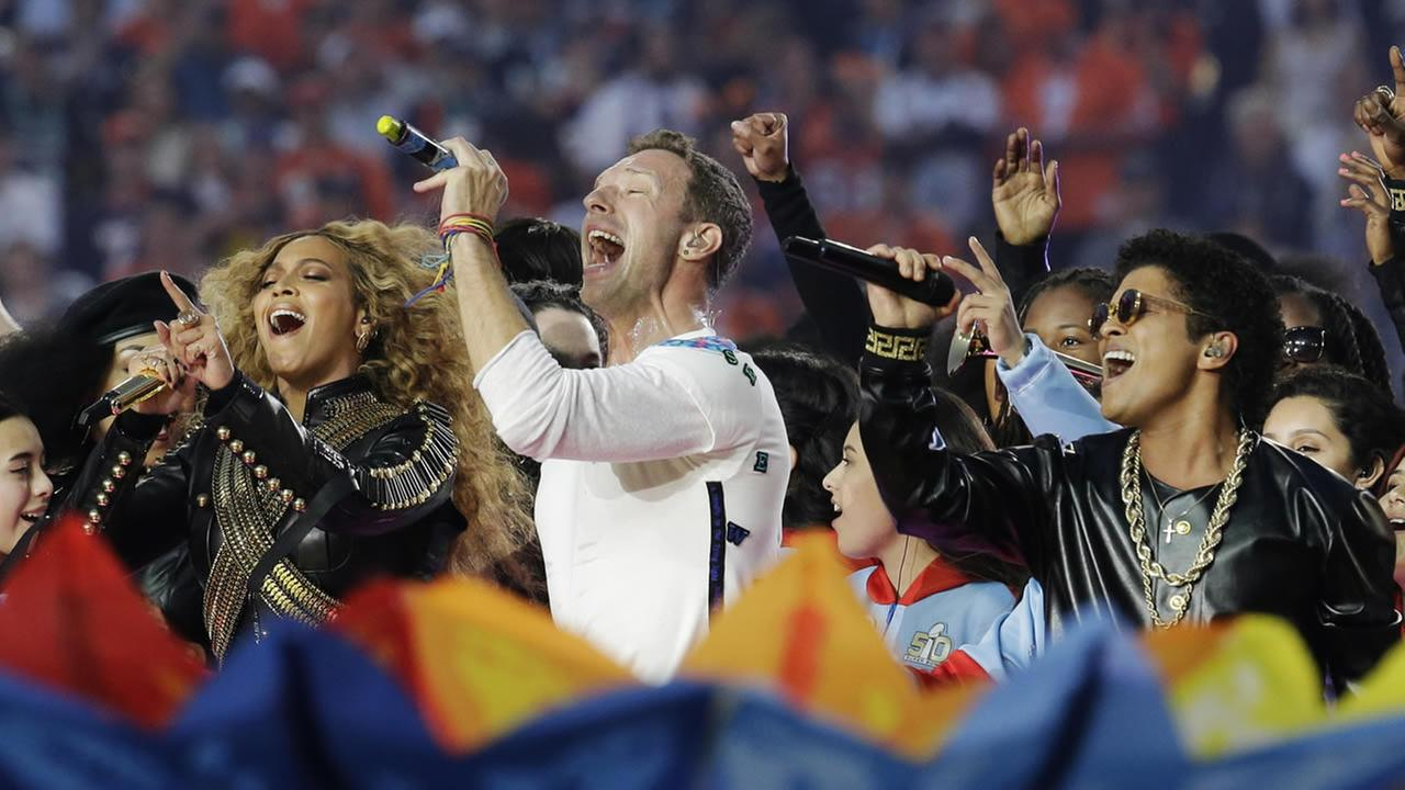 Beyonce, Coldplay singer Chris Martin and Bruno Mars perform during halftime of the NFL Super Bowl 50 football game Sunday, Feb. 7, 2016, in Santa Clara, Calif. (AP Photo/Matt York)AP Photo/Matt York