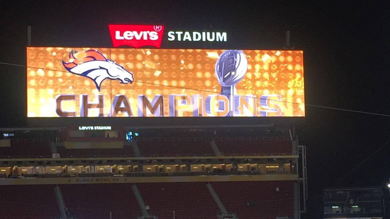 The scoreboard at Levis Stadium in Santa Clara, Calif. announced a Denver Broncos win in Super Bowl 50 on Sunday, February 7, 2016.KGO-TV
