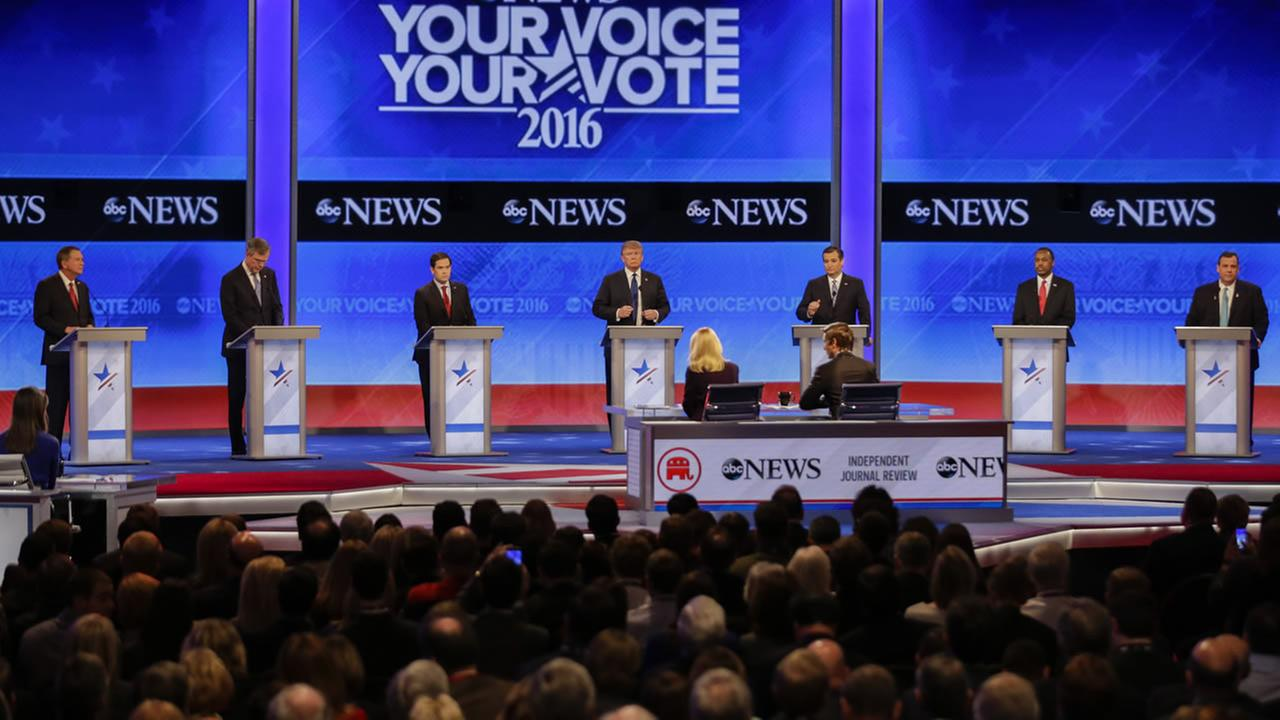 Republican presidential candidates line up for the Republican presidential primary debate St. Anselm College on Saturday, Feb. 6, 2016, in Manchester, N.H.