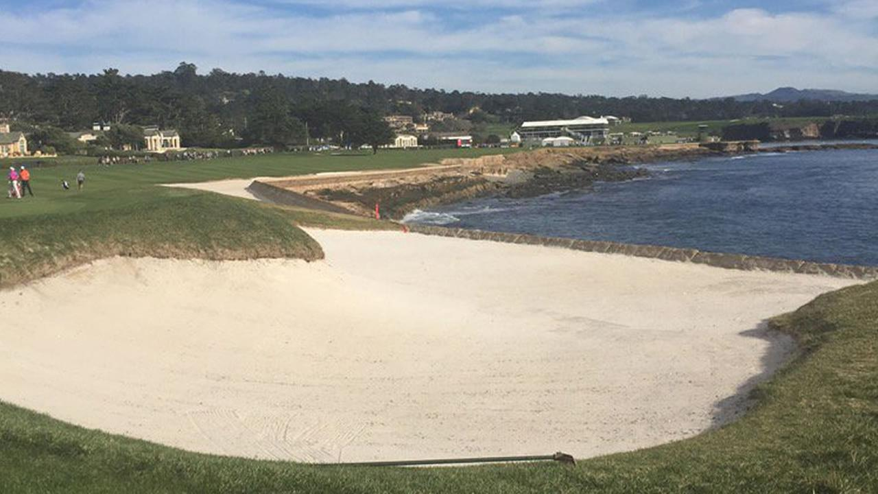 Heres a look at the 18th hole during the AT&T Pebble Beach Pro-Am in Pebble Beach, Calif. on Tuesday, February 9, 2016.